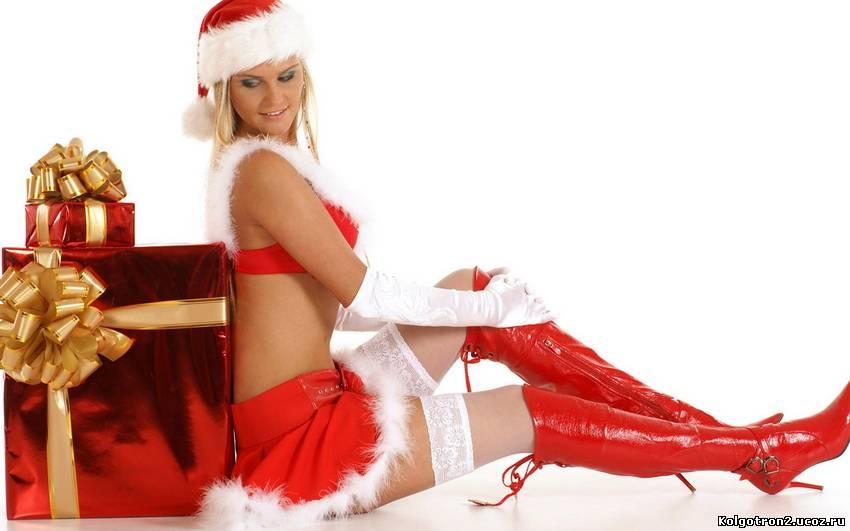 Поборка сексуальных девочек-снегурочек в чулках.